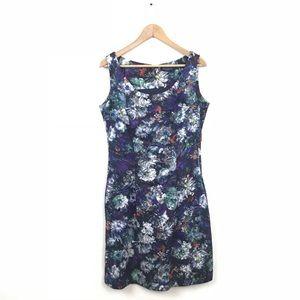 Piazza Sempione Dress Floral Print Sheath Blue 46